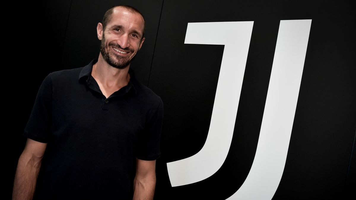 Juventus player Giorgio Chiellini extends his contract with Juventus at Juventus headquarters on August 2, 2021 in Turin, Italy.
