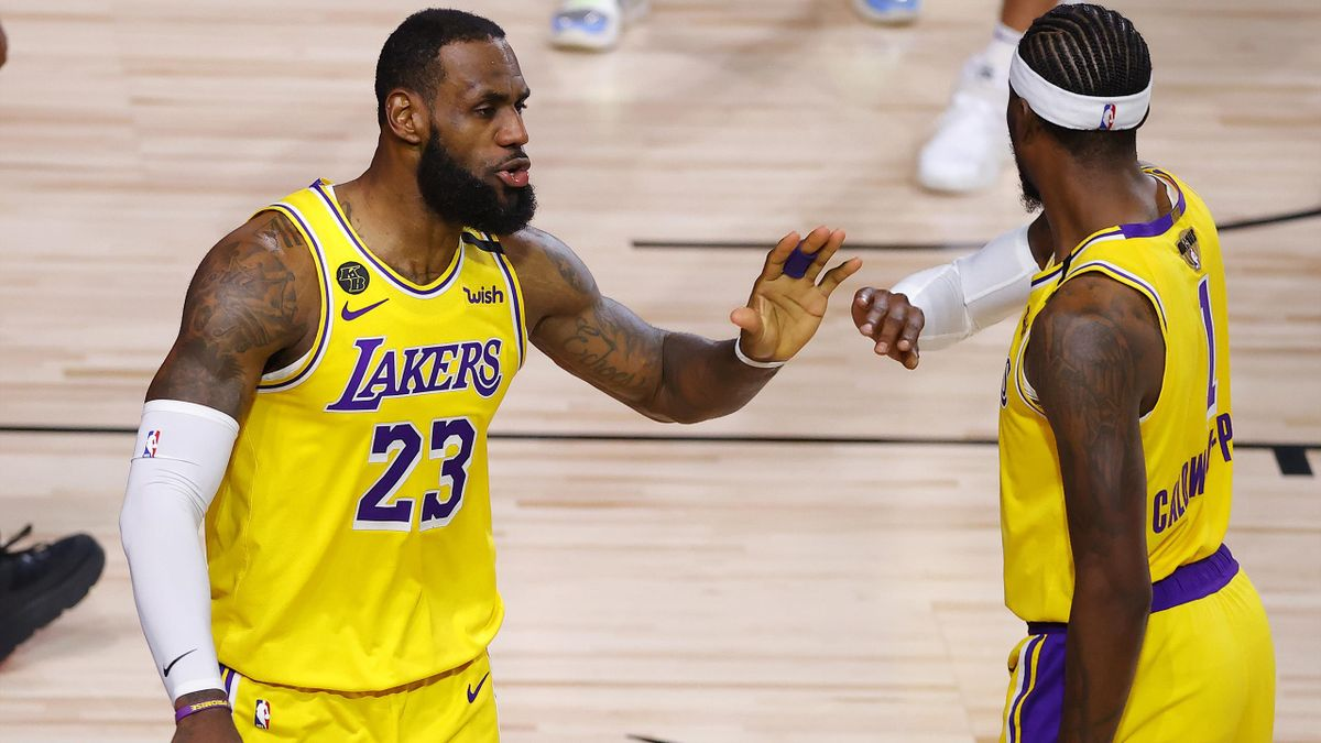 LeBron James et Kentavious Caldwell-Pope (Lakers) lors des playoffs NBA 2020.
