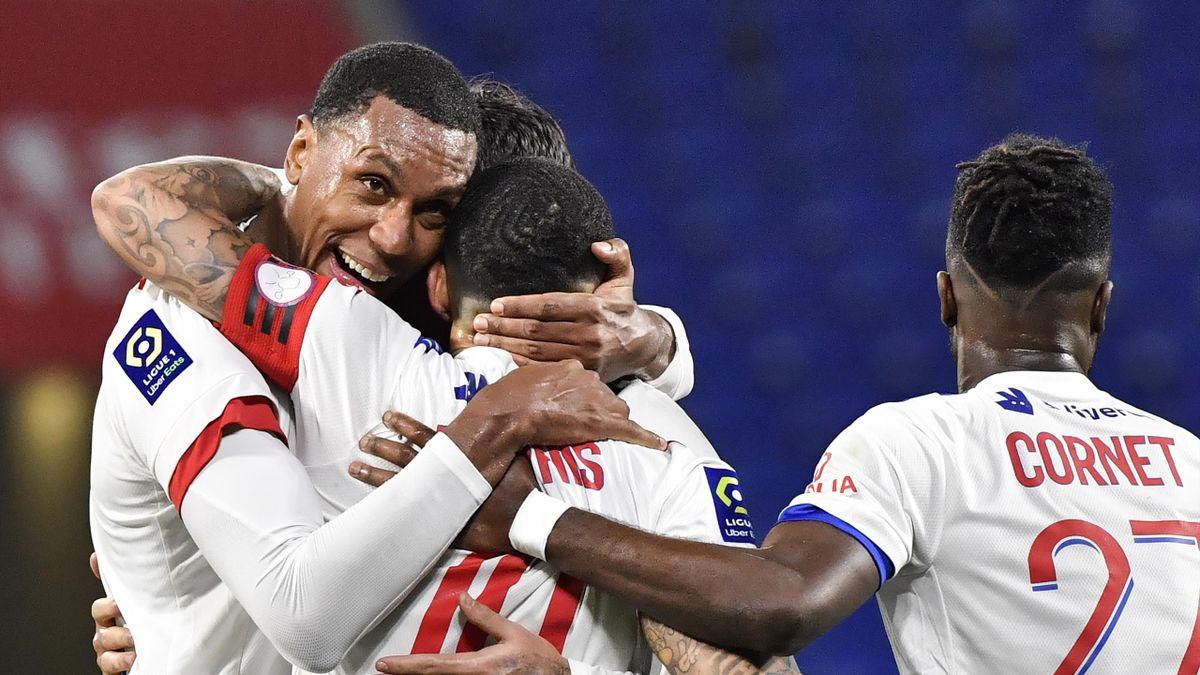 La joie des joueurs de l'Olympique Lyonnais