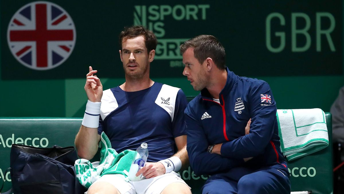 Andy Murray of Great Britain speaks to Great Britain captain Leon Smith during his Davis Cup Group Stage match against Tallon Griekspoor of the Netherlands during Day Three of the 2019 Davis Cup at La Caja Magica