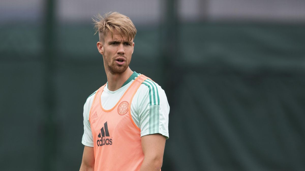 Kristoffer Ajer during a Celtic training session at Dragons Park, on July 13, 2021, in Newport, Wales.