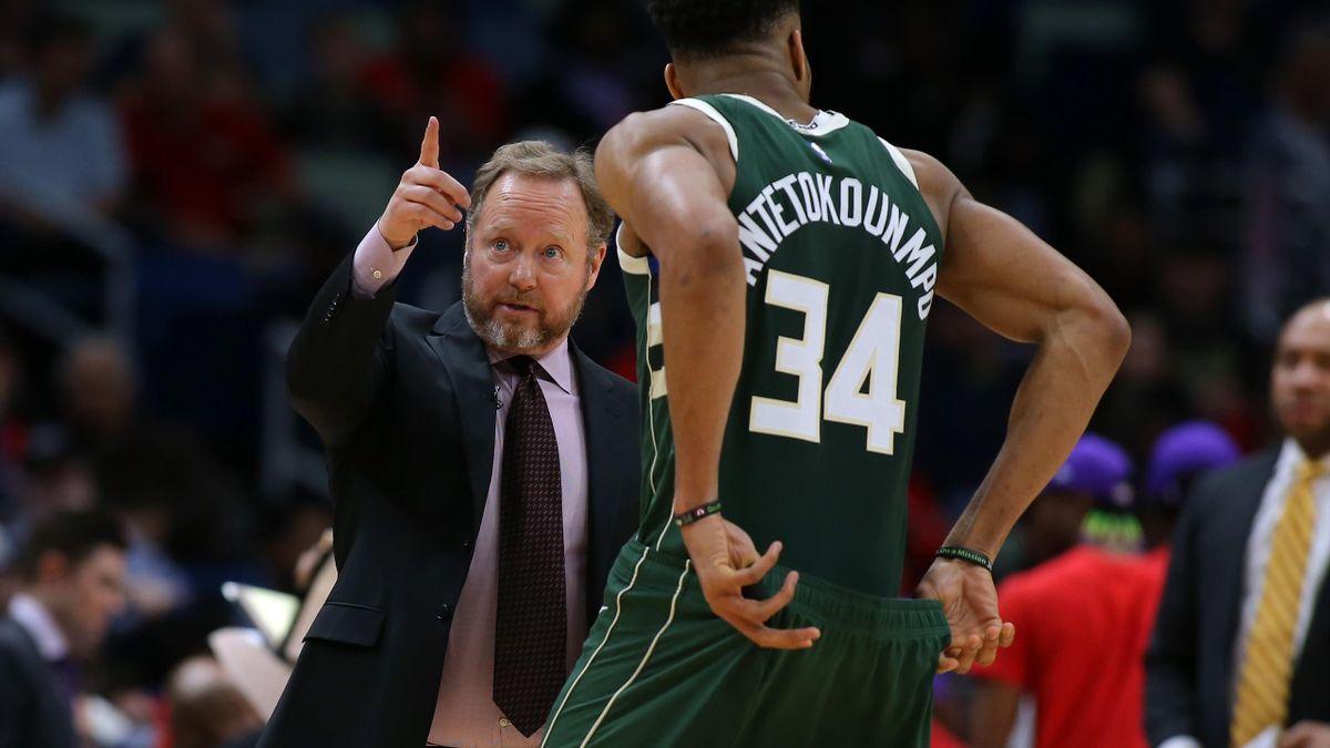 Mike Budenholzer et Giannis Antetokounmpo (Milwaukee Bucks)