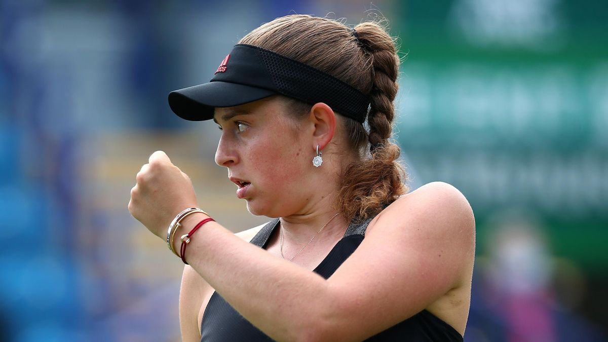 Jelena Ostapenko of Latvia in celebrates winning a point in her quarter final women's singles match against Daria Kasatkina of Russia during day 6 of the Viking International Eastbourne at Devonshire Park on June 24, 2021 in Eastbourne, England