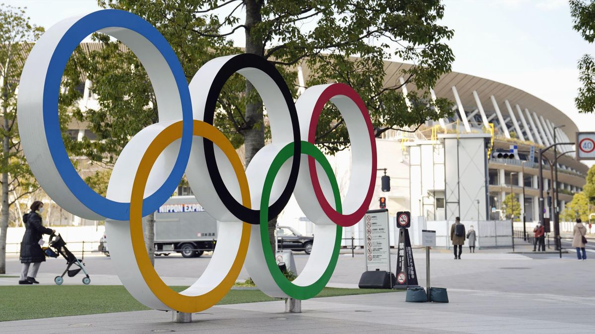 The Olympic rings outside the Japan National Stadium