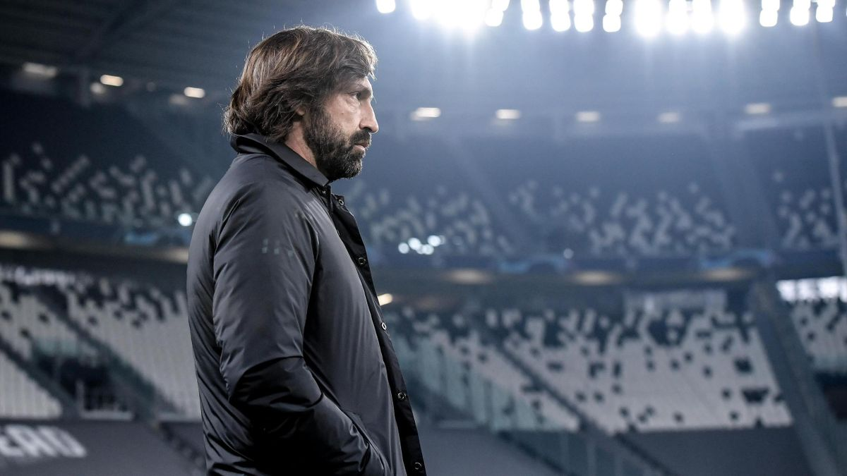 Head coach of Juventus Andrea Pirlo looks on prior to the UEFA Champions League Round of 16 match between Juventus and FC Porto at Juventus Arena on March 09, 2021 in Turin, Italy.
