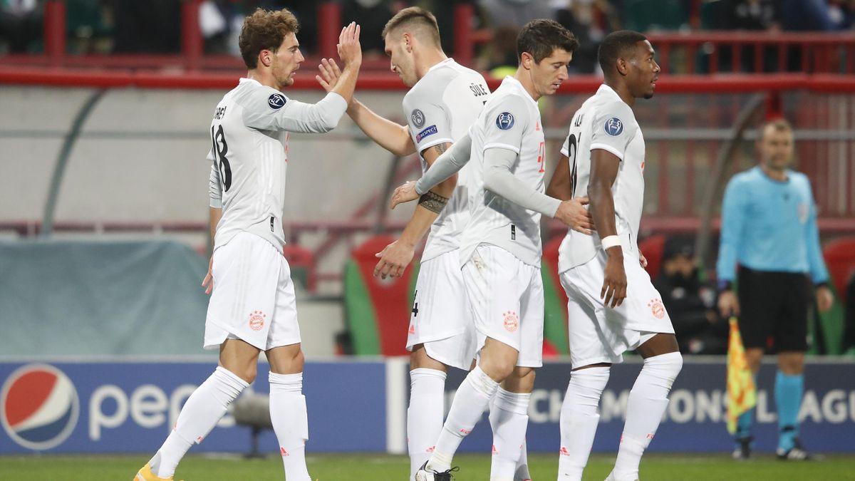 Goretzka festeggia il vantaggio, Lokomotiv Mosca-Bayern Monaco