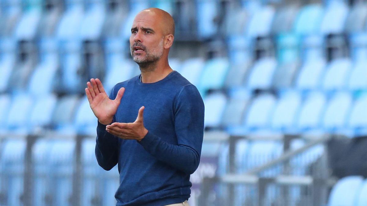3 agosto 2021, amichevole Manchester City-Blackpool. L'allenatore del Manchester City Josep Guardiola (Getty Images)