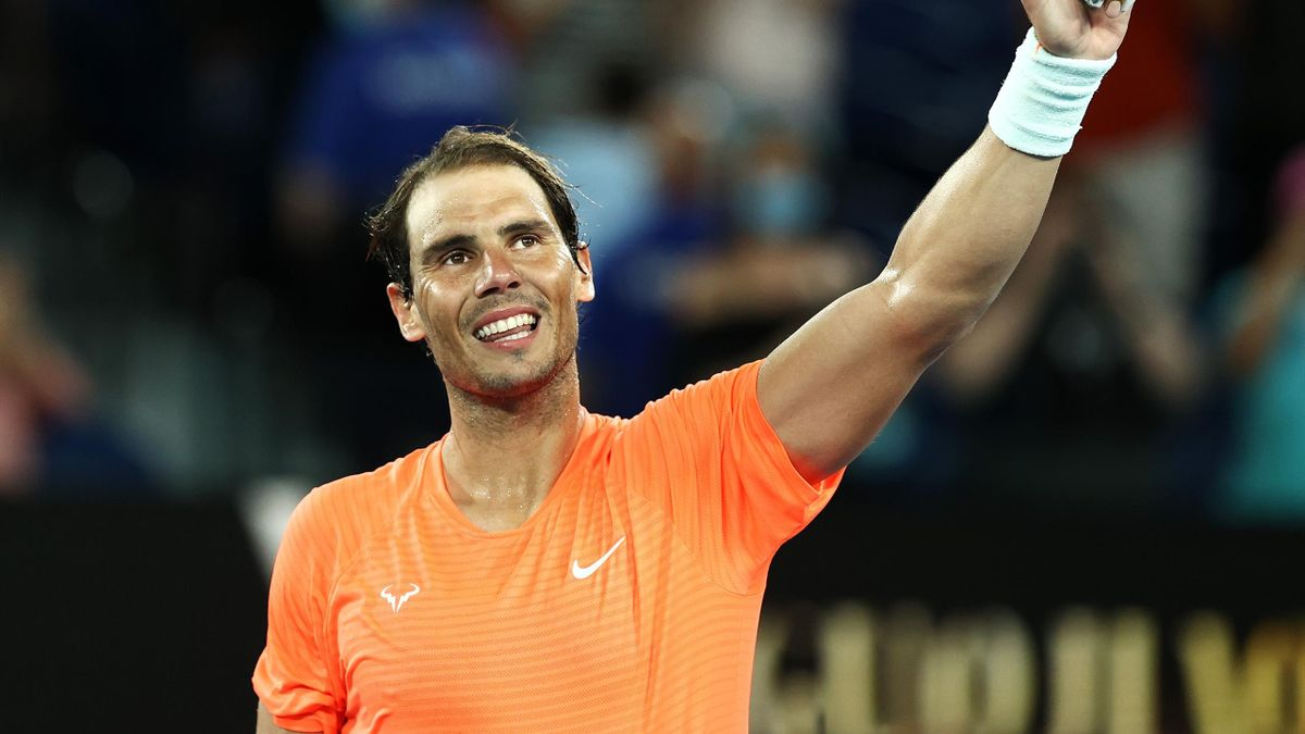 Rafael Nadal of Spain celebrates winning his Men's Singles second round match against Michael Mmoh of the United States during day four of the 2021 Australian Open at Melbourne Park