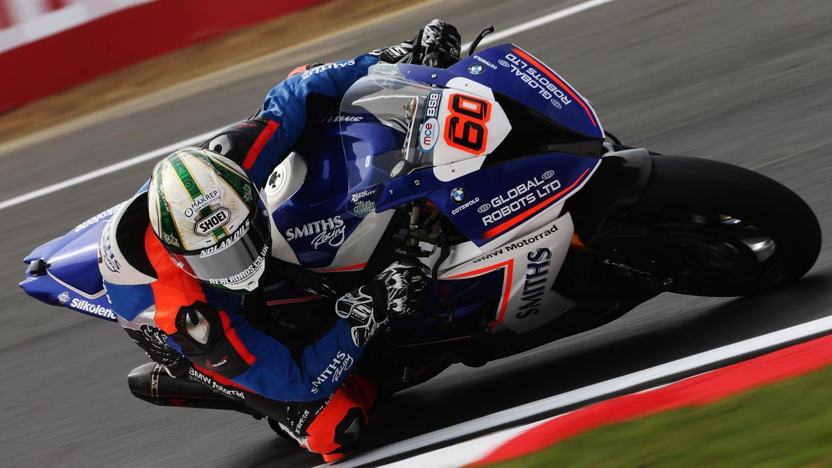 Peter Hickman of Smiths Racing BMW rides during practice for the British Superbike Championship at Brands Hatch on July 21, 2017 in Longfield, England.