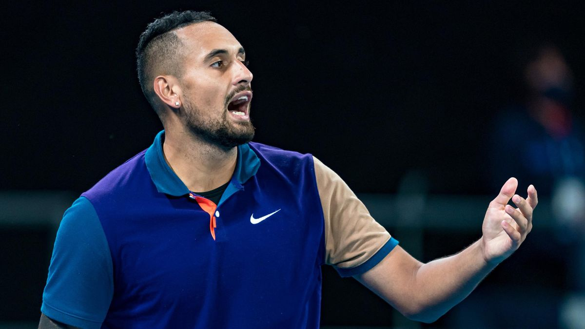 Nick Kyrgios of Australia reacts in his Men's Singles first round match against Frederico Ferreira Silva of Portugal during day one of the 2021 Australian Open at Melbourne Park on February 08