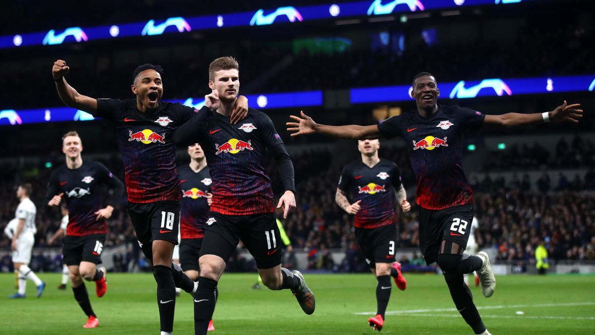 Timo Werner of RB Leipzig celebrates after scoring his team's first goal during the UEFA Champions League round of 16 first leg match between Tottenham Hotspur and RB Leipzig at Tottenham Hotspur Stadium on February 19, 2020 in London, United Kingdom