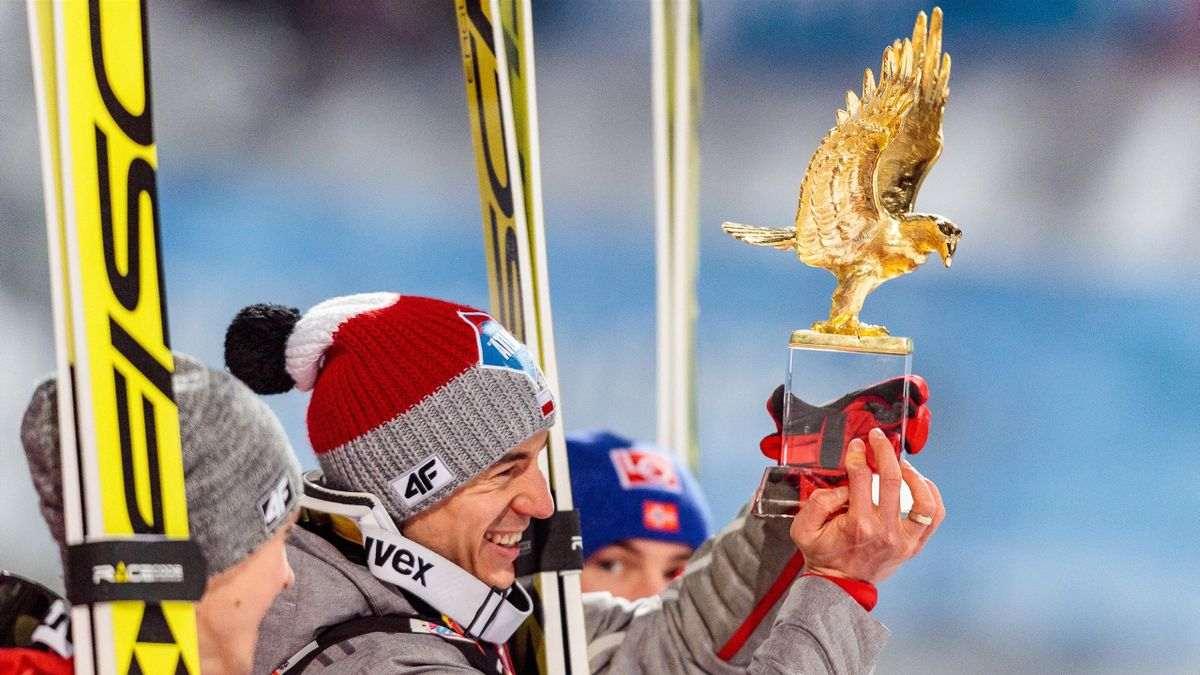 Overall Winner Kamil Stoch of Poland poses with his trophy during the Overall Winner Award Ceremony of the Four Hills Tournament of FIS Ski Jumping World Cup