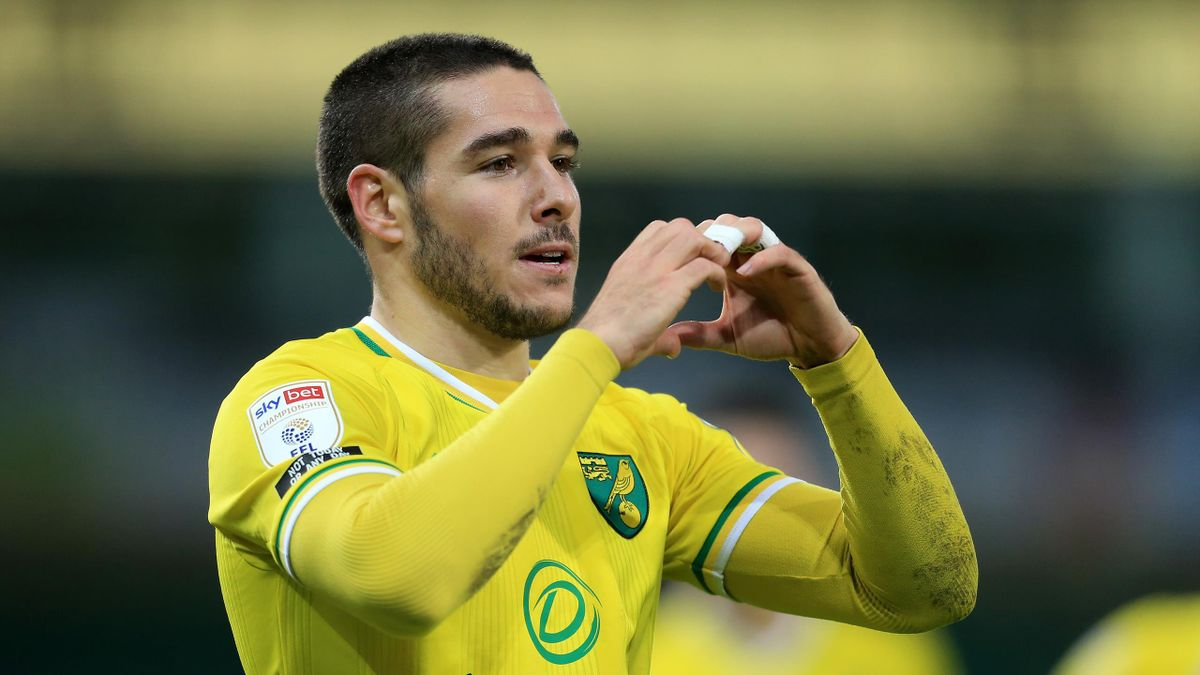 Emi Buendia of Norwich City celebrates after scoring their team's first goal during the Sky Bet Championship match between Norwich City and Barnsley