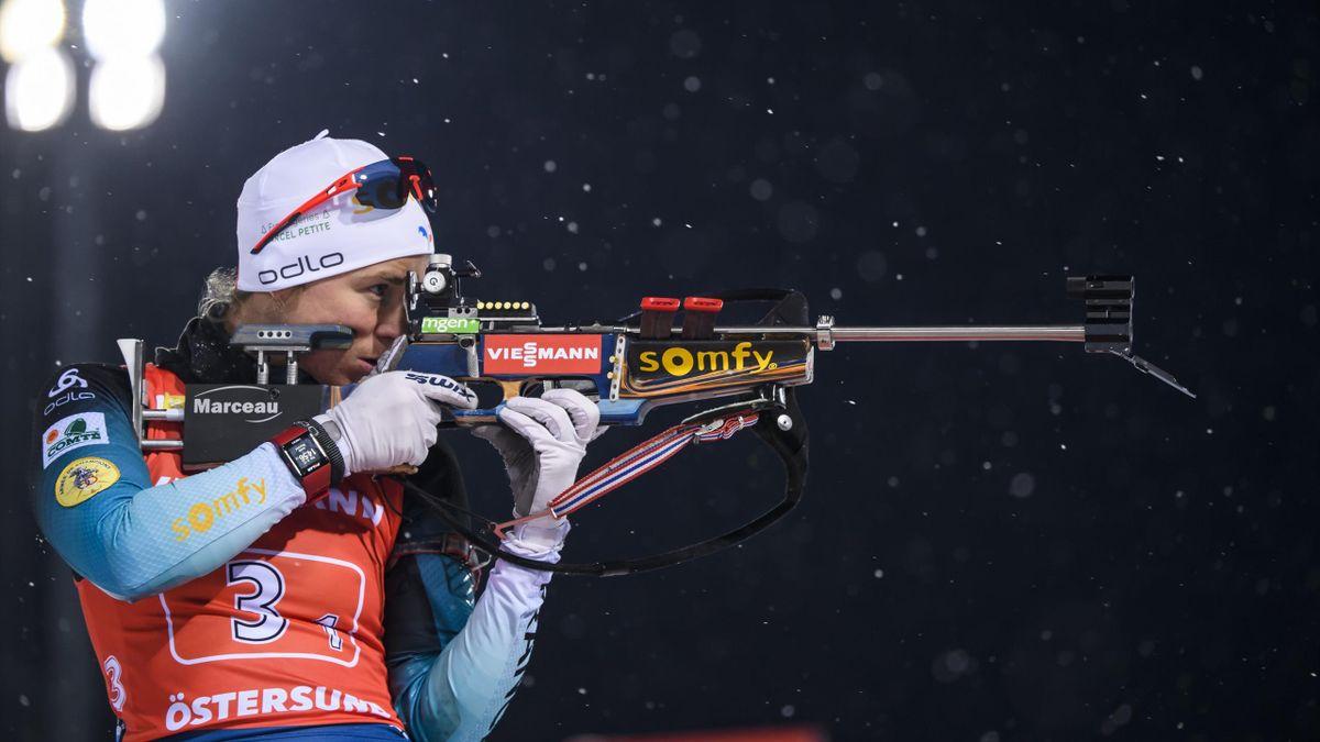La Française Anaïs Bescond lors du relais dames d'Östersund