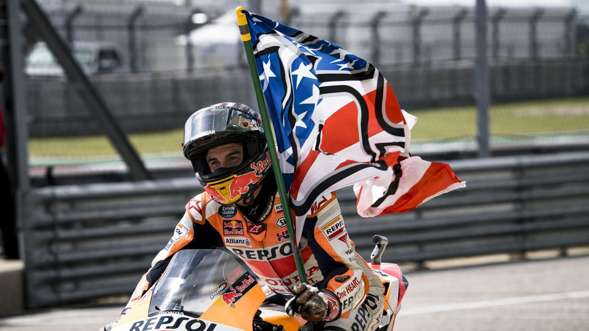 Marc Marquez of Spain celebrates victory during the Red Bull Grand Prix of the Americas - Race day at Circuit of The Americas on October 3, 2021 in Austin, Texas