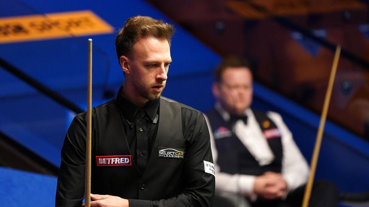 Judd Trump eyes a pot, World Snooker Championship, The Crucible. Sheffield, April 28, 2021
