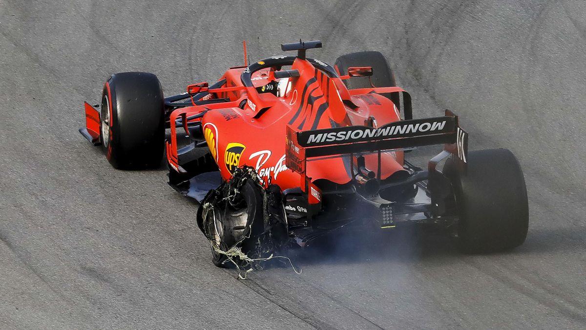 Sebastian Vettels Ferrari nach dem Crash mit Charles Leclerc beim GP Brasilien