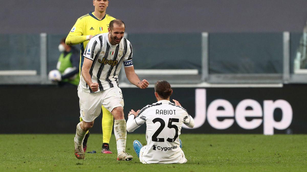 Giorgio Chiellini festeggia insieme ad Adrien Rabiot, Juventus-Inter, Getty Images