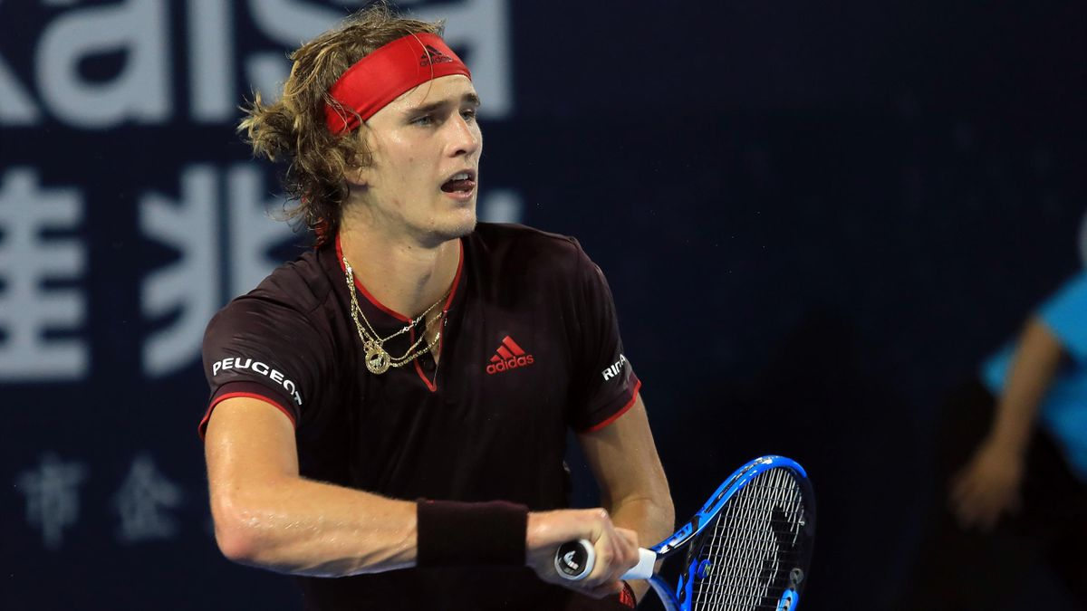 Alexander Zverev of Germany hits a return against Damir Dzumhur of Bosnia and Herzegovina during their men's singles quarter-final match at the ATP Shenzhen Open tennis tournament in Shenzhen, southern China's Guangdong province on September 29, 2017