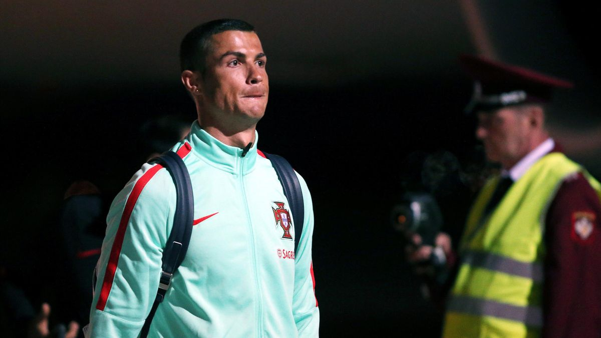Portugal national team forward Cristiano Ronaldo is seen upon the team's arrival at Kazan