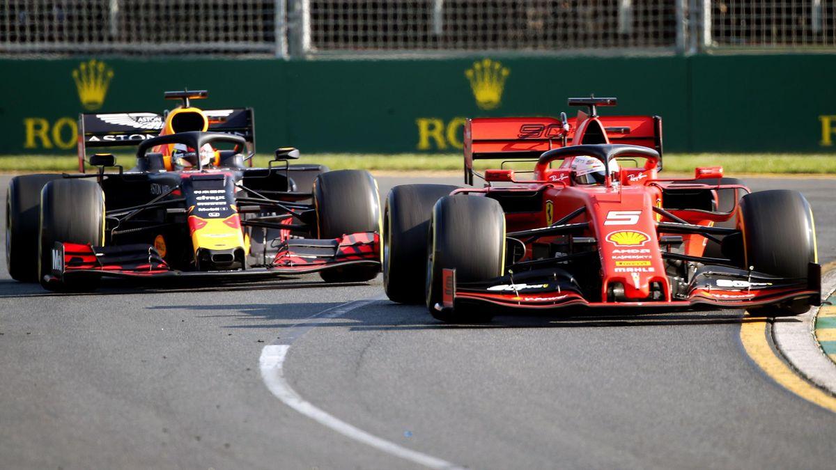 Sebastian Vettel (Ferrari) y Max Verstappen (Red Bull)