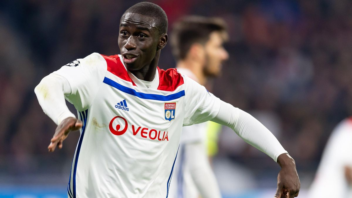 Ferland Mendy of Olympique Lyon gestures during the UEFA Champions League Round of 16 First Leg match between Olympique Lyonnais and FC Barcelona at Groupama Stadium on February 19, 2019 in Lyon, France
