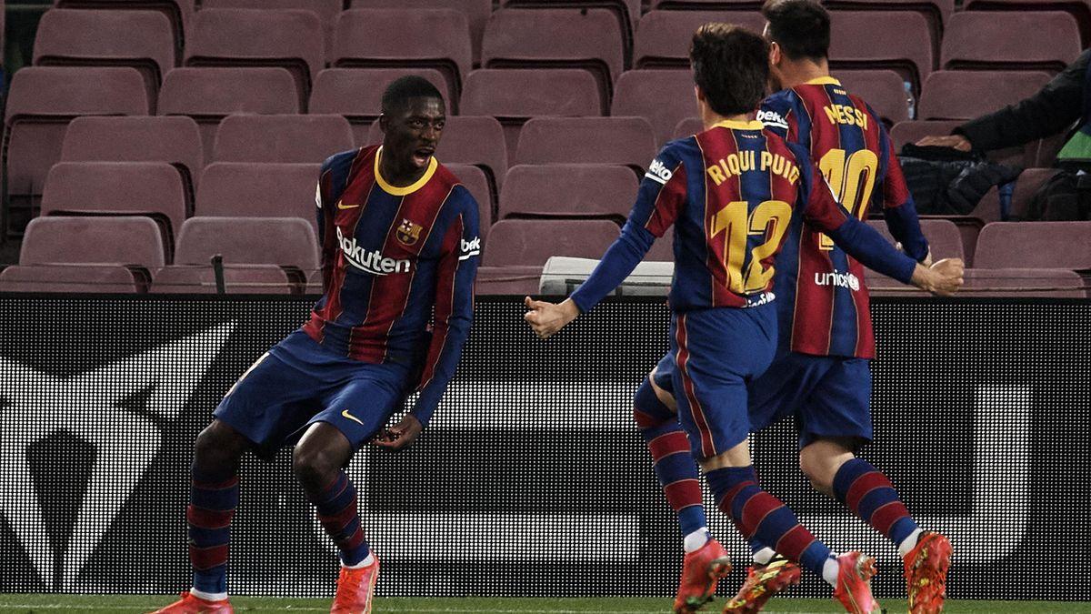 Ousmane Dembele of Barcelona celebrates after scoring his sides first goal during the La Liga Santander match between FC Barcelona and Real Valladolid CF at Camp Nou on April 5, 2021 in Barcelona, Spain