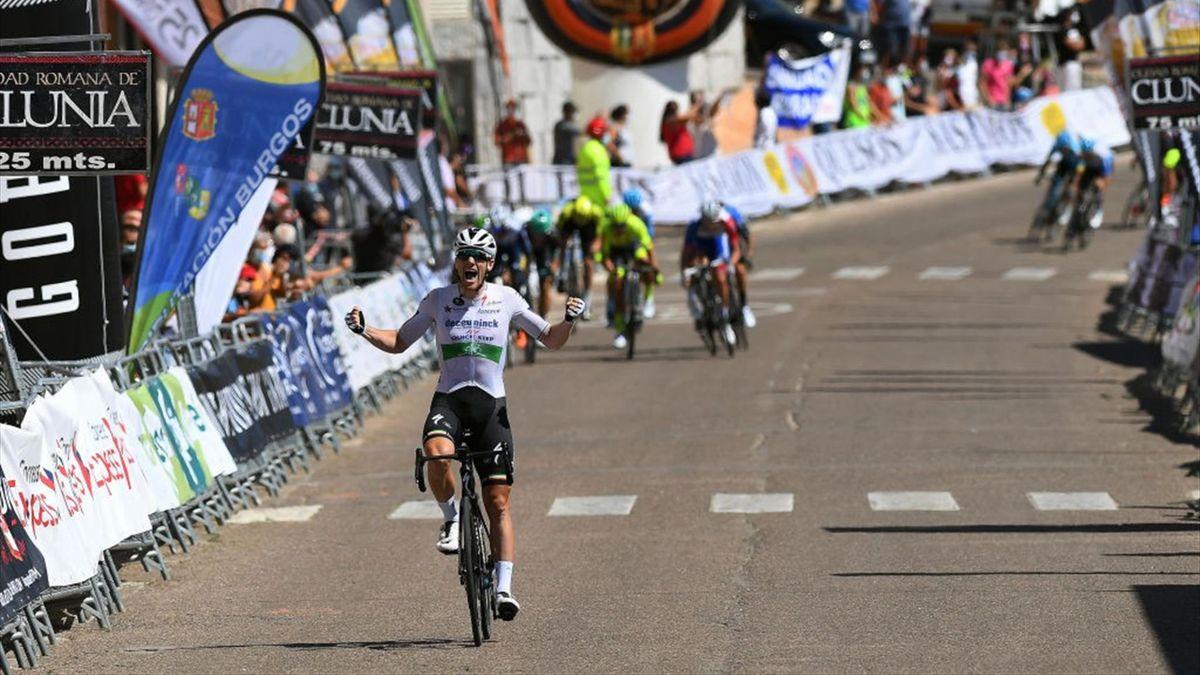 Sam Bennett of Ireland and Team Deceuninck - Quick-Step / Celebration / during the 42nd Vuelta a Burgos 2020, Stage 4 a 163km stage from Bodegas Nabal - Gumiel de Izán to Roa de Duero