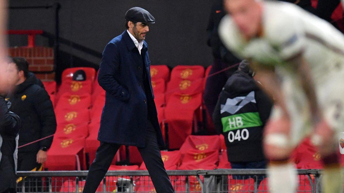 Paulo Fonseca, tecnico della Roma a Old Trafford contro il Manchester United in Europa League