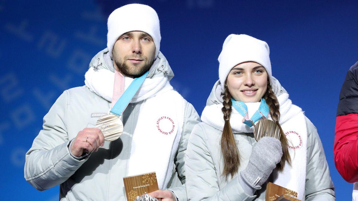 Alexander Krushelnitsky et Anastasia Bryzgalova lors des JO de Pyeongchang