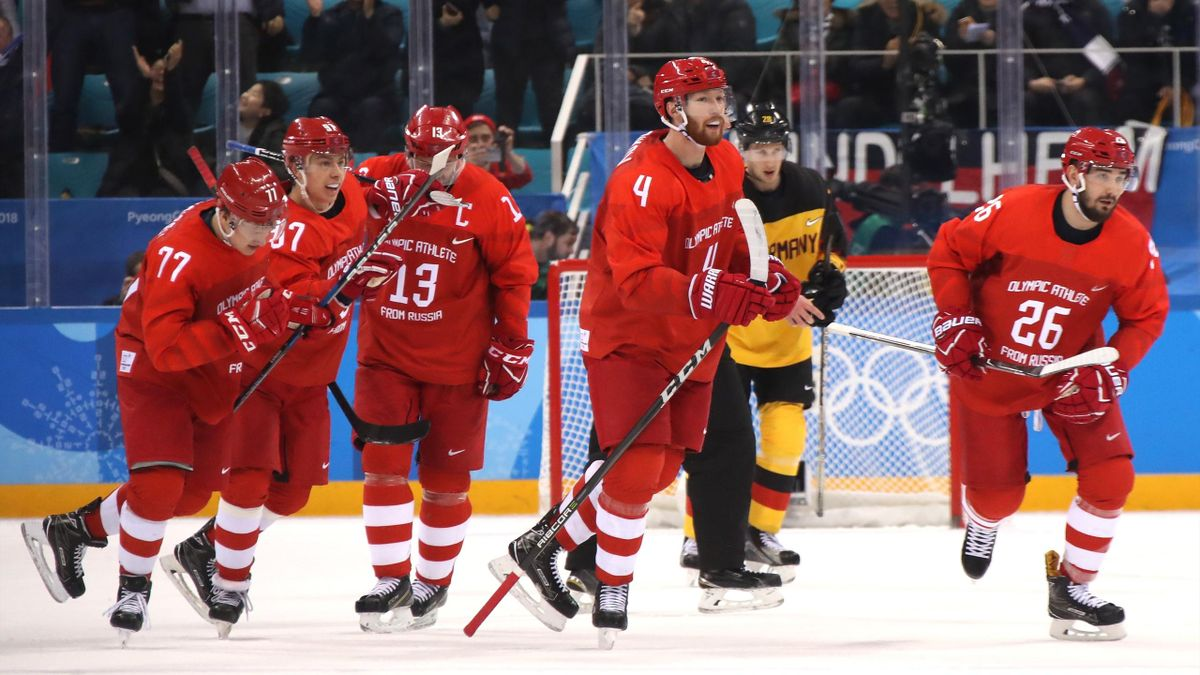 Vyacheslav Voinov #26 of Olympic Athlete from Russia celebrates with teammates after a goal in the first period against Germany during the Men's Gold Medal Game on day sixteen of the PyeongChang 2018 Winter Olympic Games at Gangneung Hockey Centre on Febr