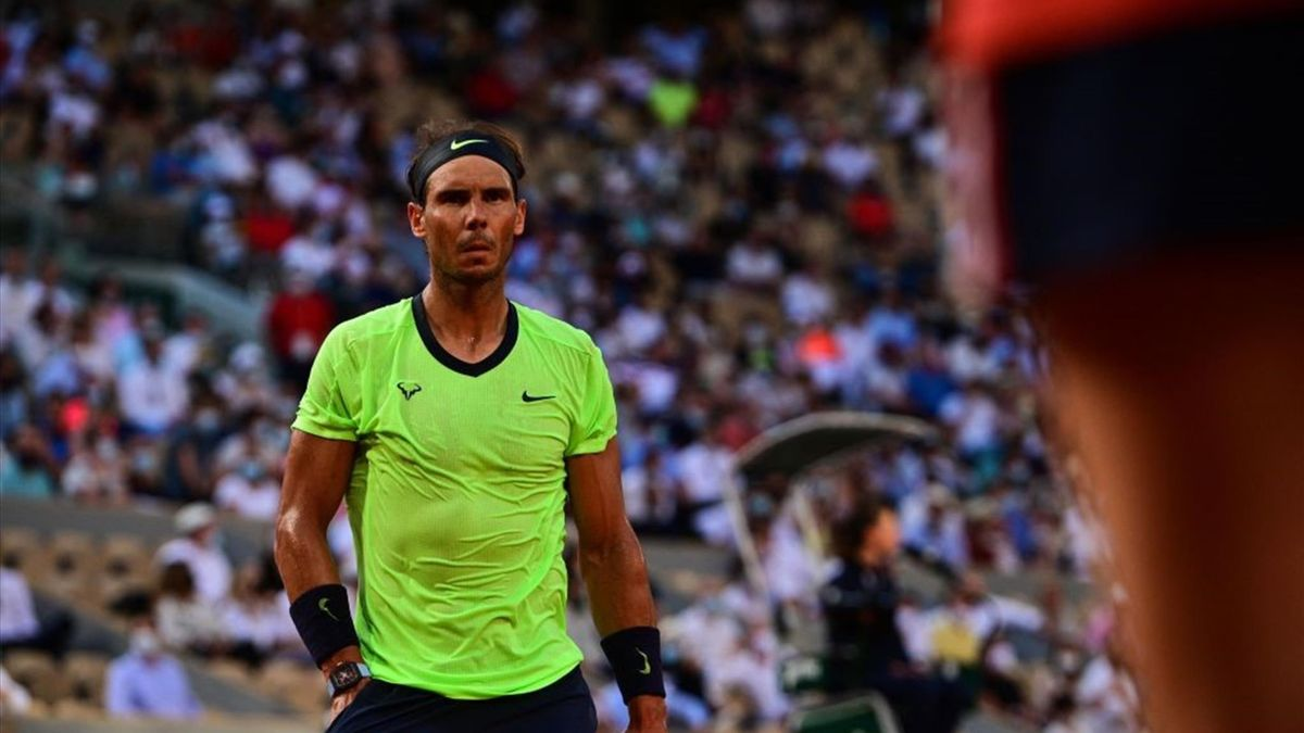 Spain's Rafael Nadal reacts during his men's singles semi-final tennis match against Serbia's Novak Djokovic on Day 13 of The Roland Garros 2021 French Open tennis tournament in Paris on June 11, 2021