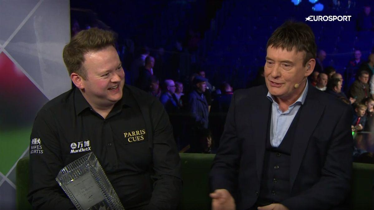 Shaun Murphy laughs in the Eurosport studio after winning the Welsh Open