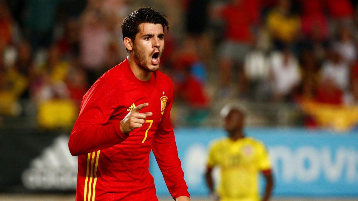 Spain's Alvaro Morata celebrates scoring their second goal