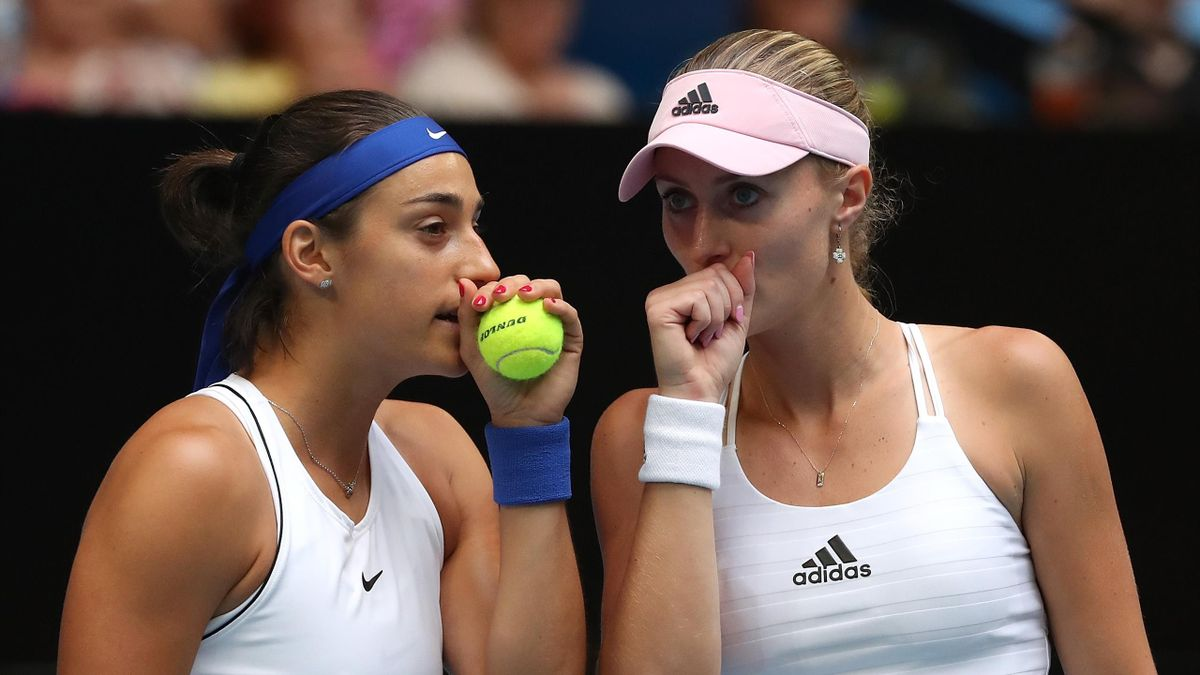 Caroline Garcia et Kristina Mladenovic lors de France - Australie en finale de Fed Cup 2019