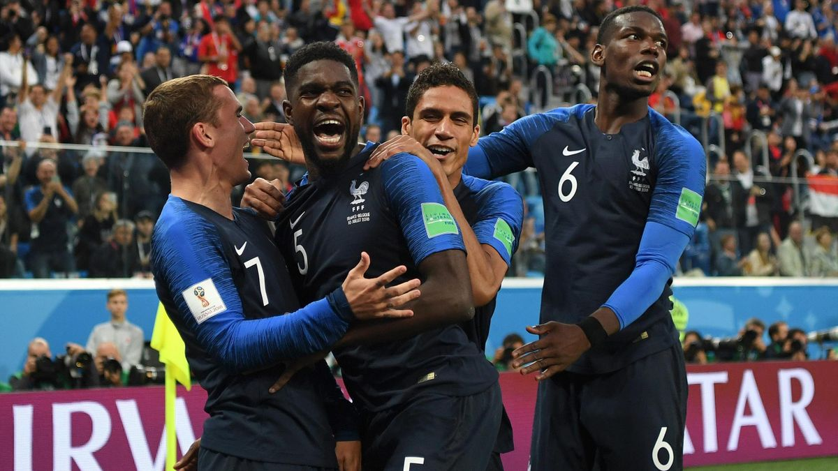 Samuel Umtiti of France celebrates with team mates after scoring his team's first goal during the 2018 FIFA World Cup Russia Semi Final match between Belgium and France at Saint Petersburg Stadium on July 10, 2018 in Saint Petersburg, Russia.