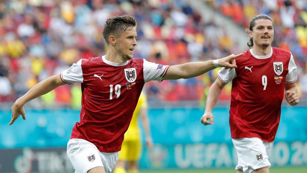 Christoph Baumgartner esulta dopo il gol in Ucraina-Austria - Europei 2021