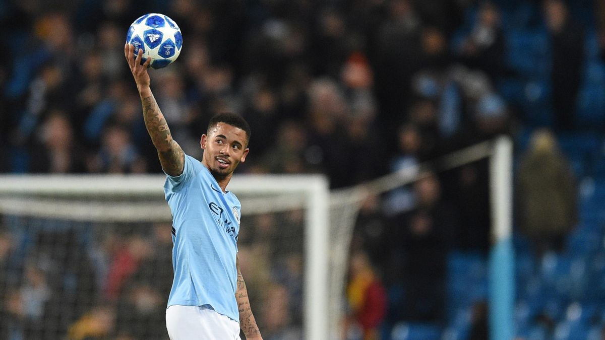 Manchester City's Brazilian striker Gabriel Jesus celebrates after scoring a hat trick to make it 6-0 during a UEFA Champions League group F football match between Manchester City and Shakhtar Donetsk at the Etihad stadium in Manchester, northwest England