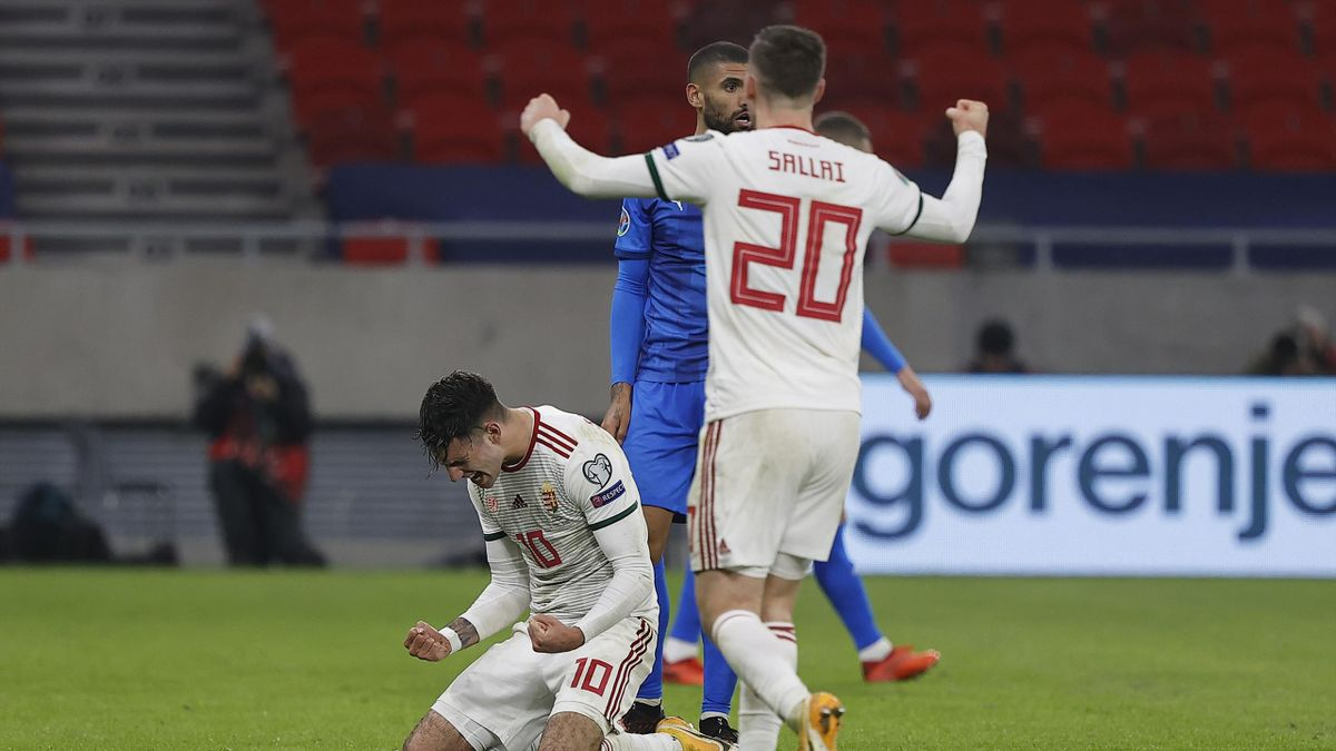 Dominik Szoboszlai of Hungary celebrates at the full time whistle during the UEFA EURO 2020 Play-Off Final between Hungary and Iceland at Puskas Arena on November 12, 2020 in Budapest, Hungary