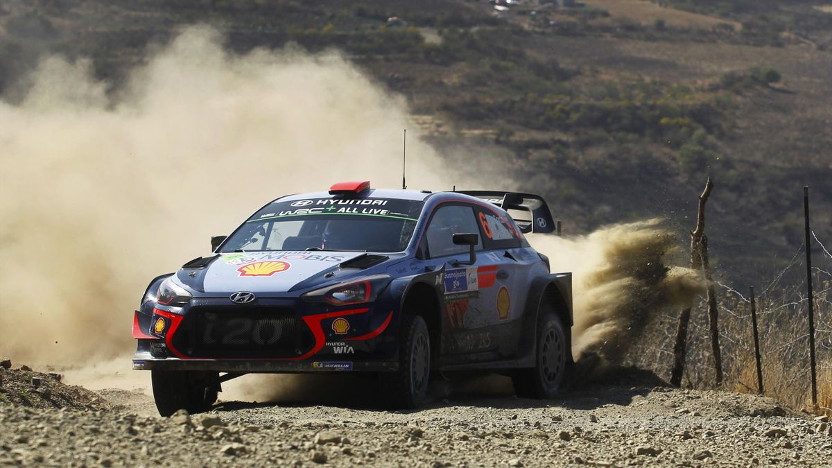 Dani Sordo and Carlos del Barrio of Spain and Hyundai Shell Mobis World Rally Team compete in their Hyundaii20 Coupe WRC