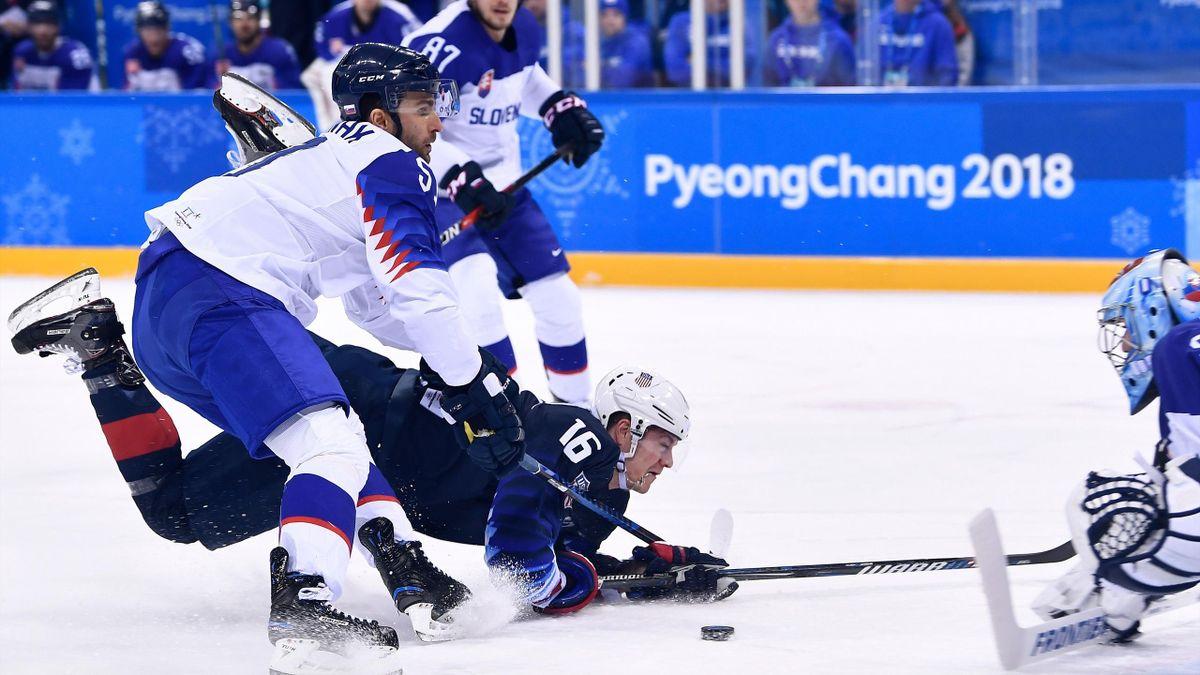 Les Etats-Unis et la Slovaquie, lors du match de barrages des JO 2018 de Pyeongchang