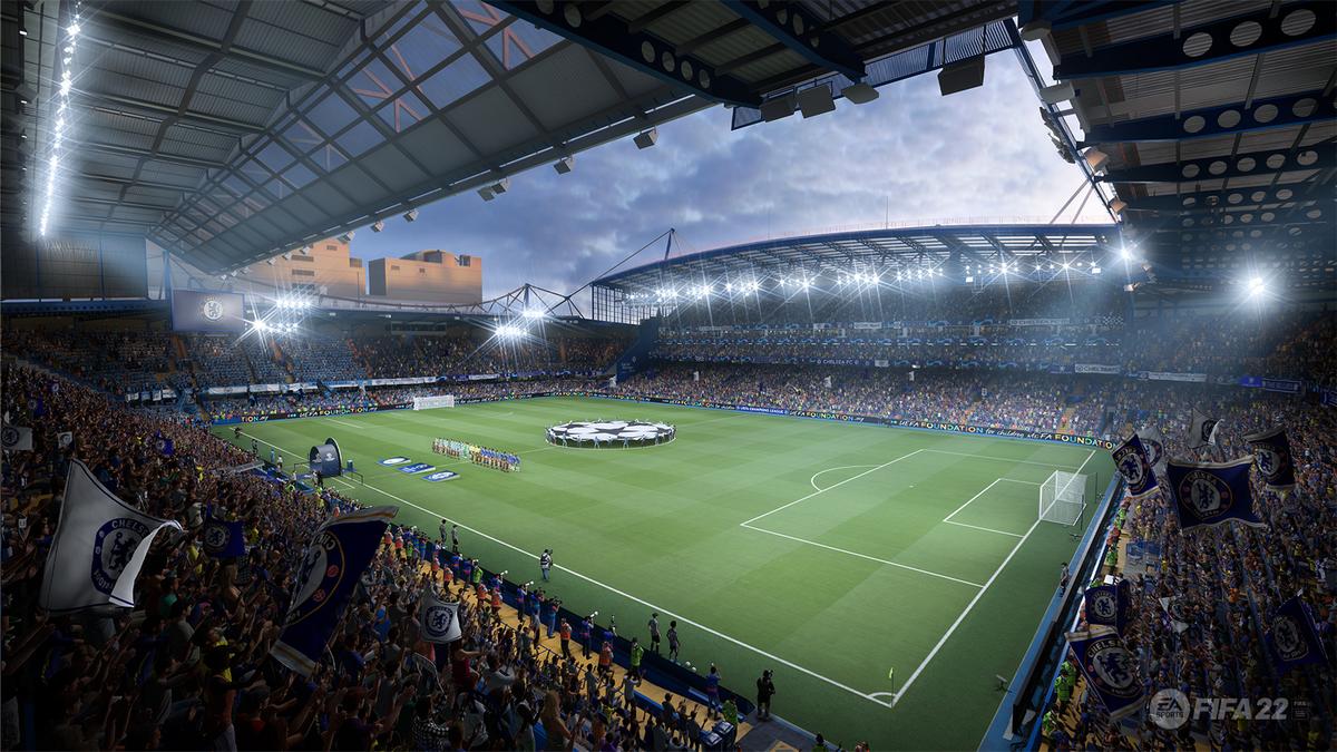 Stamford Bridge, le stade de Chelsea, dans FIFA 22 (Crédit image : EA Sports)