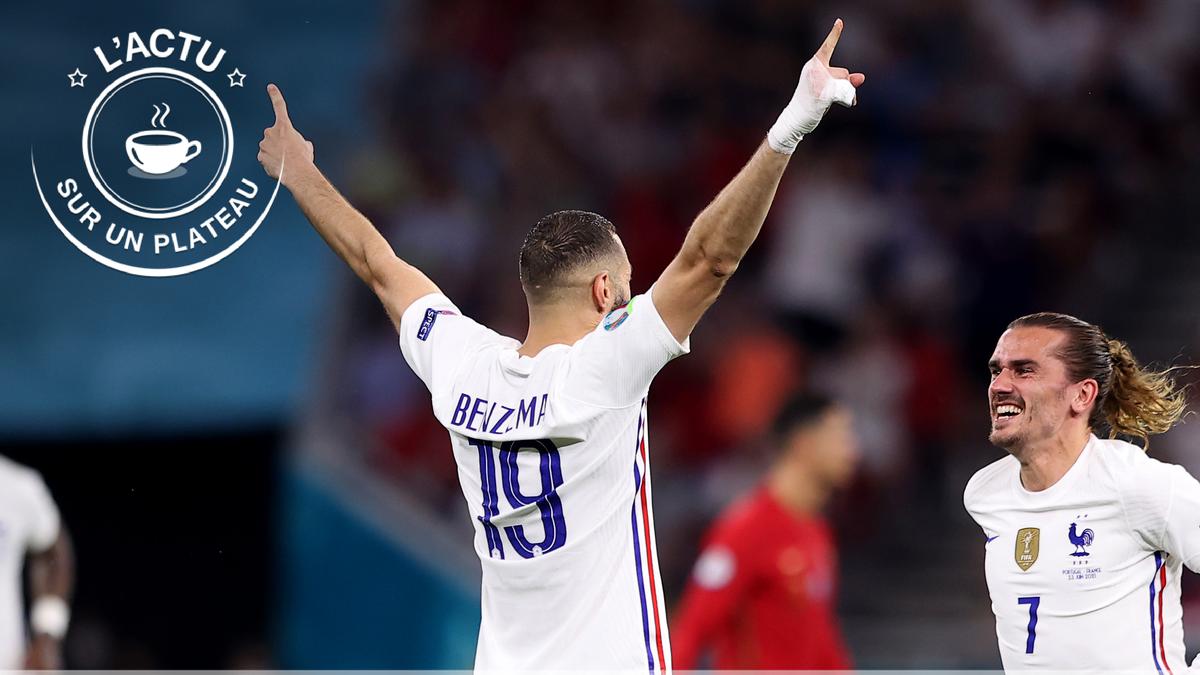 Benzema et Griezmann célèbrent le deuxième but des Bleus