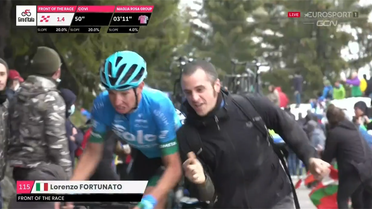 'We have been here before' – Fan nearly knocks lone leader Fortunato off his bike