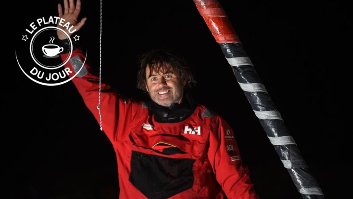 Yannick Bestaven à l'arrivée du Vendée Globe le 28 janvier 2021