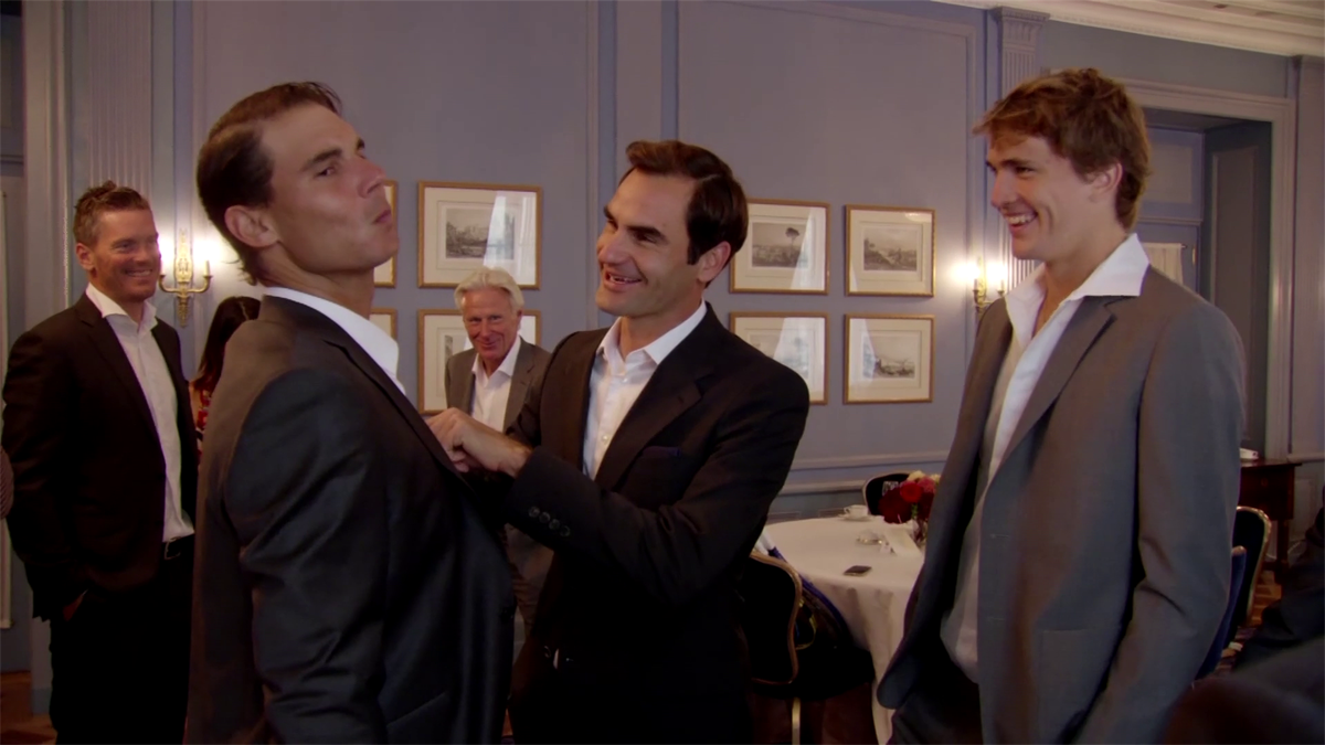 'Looking very sharp!' - Federer helps Nadal with his suit at Laver Cup in 2019