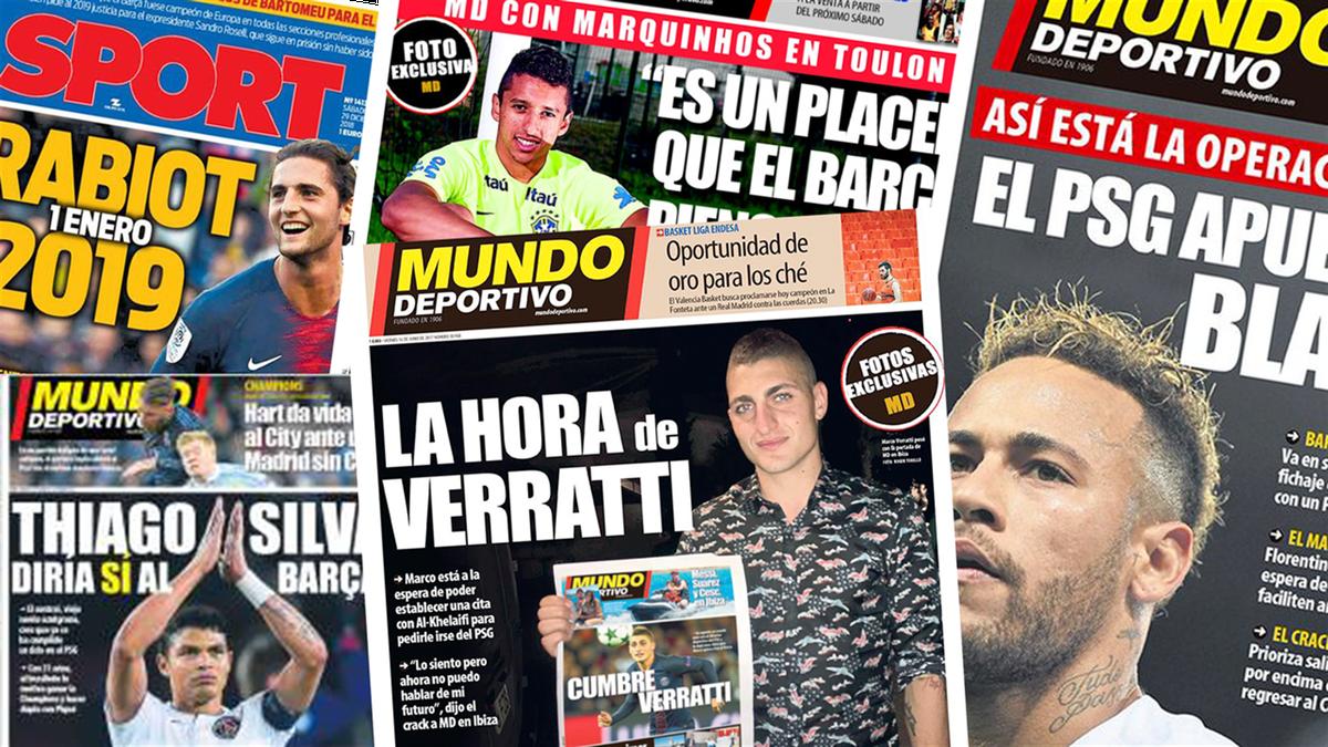 Des Unes de journaux catalans évoquant des joueurs du PSG