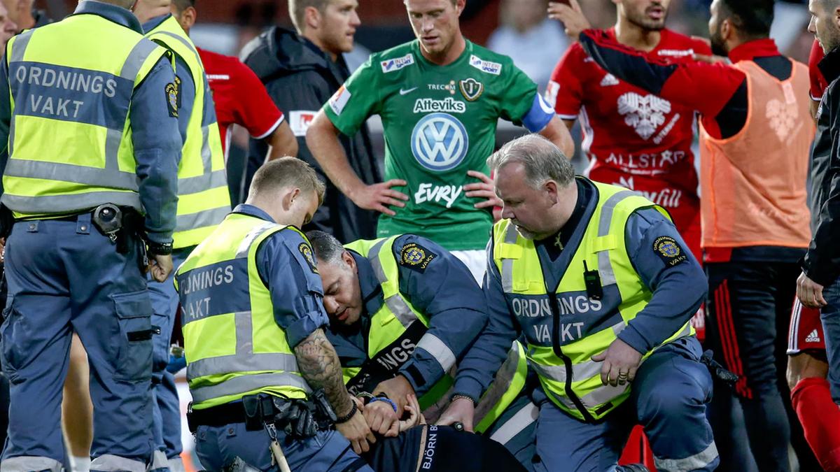 Шведский фанат сорвал матч, нанеся травму вратарю