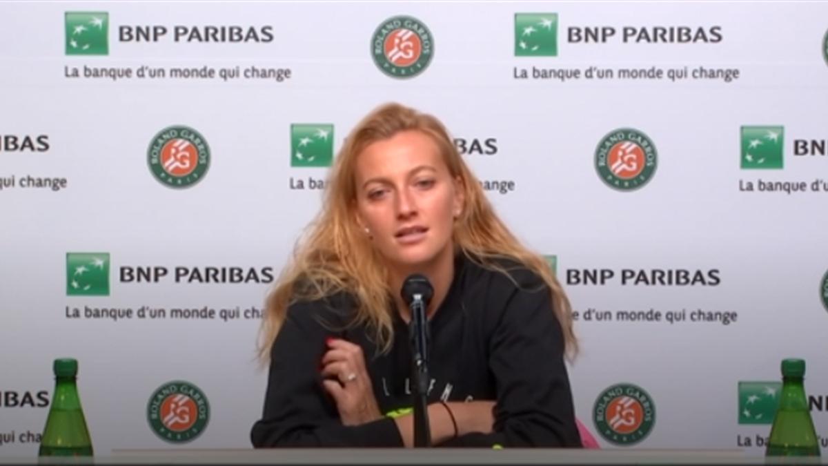 Petra Kvitova, la conferința de presă, la Roland Garros