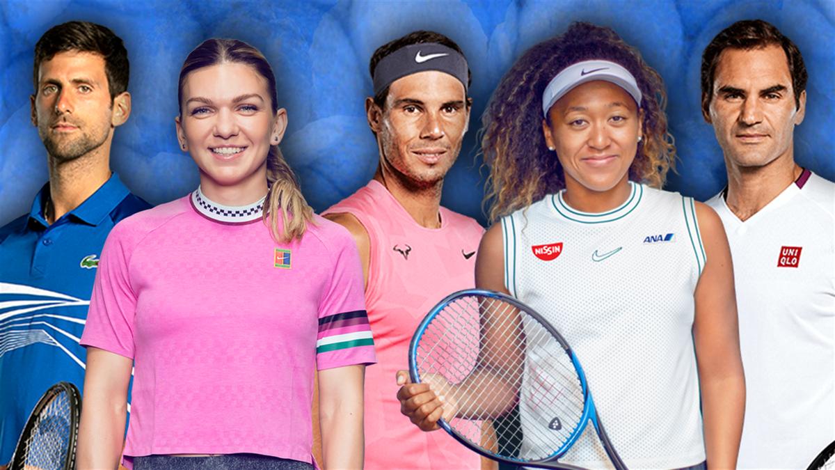 Novak Djokovic - Simona Halep - Rafael Nadal - Naomi Osaka - Roger Federer
